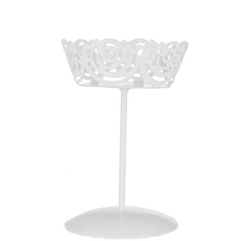 White Floral Metal Single Cupcake Holder - Small